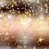 Gold confetti and streamers backgrond