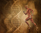 Grunge medical background with 3D running man with DNA strands