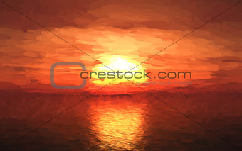 Oil painting of a sunset over sea