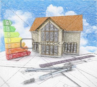 3D house on plans against a cloudy blue sky