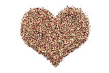 Mixed quinoa in a heart shape