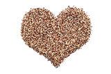 Mixed quinoa in a heart shape
