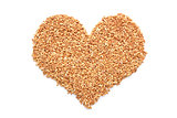 Farro dicocco in a heart shape