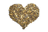 Pumpkin seeds in a heart shape