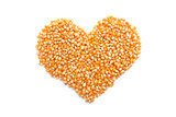Popcorn maize in a heart shape