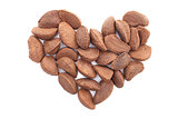 Brazil nuts in a heart shape