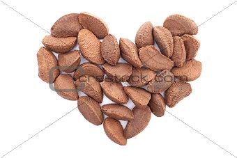 Brazil nuts in a heart shape