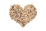Wild rice in a heart shape
