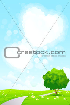 Green Landscape with  Tree and Heart Shape Clouds
