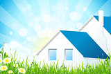 Green Grass with House