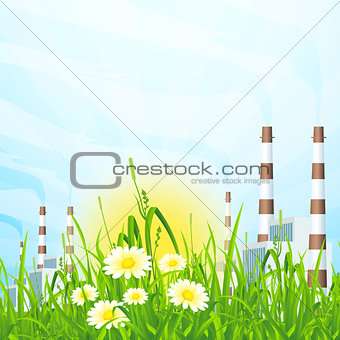Green Grass with Power Plant