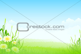 Green Landscape with Flowers