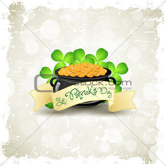 Grungy Patricks Day Card. Cauldron with Gold Coins