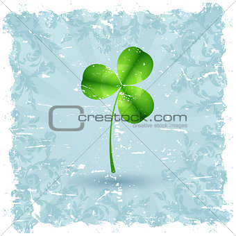 Grungy Saint Patrick's Day Card with Shamrock