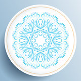 White plate with blue floral ornament
