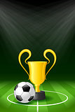 Soccer Background with Ball and Award Trophy