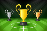 Soccer Background with Three Award Trophy