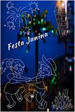 Cute hand-drawing Festa Junina vector elements on blurred, night