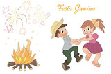 Cute hand-drawing of dancing children, bonfire an fireworks.