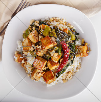 Tofu with Chinese Broccoli and Rice