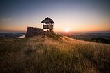 Wooden Tourist Observation Tower over a Landscape at Beautiful S