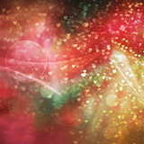 Abstract background for design with bokeh in form of heart