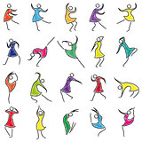 Set of twenty abstract female dancers