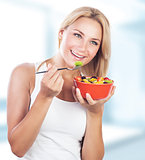 Woman enjoy healthy eating
