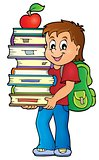 Boy holding books theme image 1