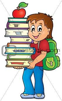 Boy holding books theme image 1