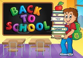 Boy holding books theme image 3