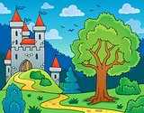 Castle and tree theme image