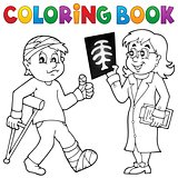Coloring book doctor attending patient