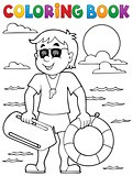 Coloring book life guard theme 1