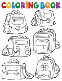 Coloring book school bags theme 1