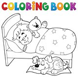 Coloring book sleeping child theme 2