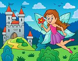 Happy fairy near castle