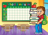 School timetable with boy holding books