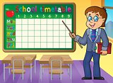 School timetable with man teacher