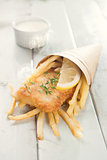 Fish and chips in cone