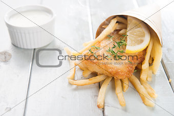 Fish and chips wrapped in cone