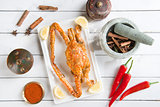 Cooked blue crab in hot and spicy sauce