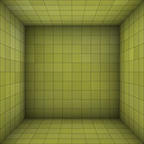 empty futuristic room with green walls and subdivision