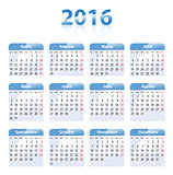 Blue glossy calendar for 2016 in Spanish