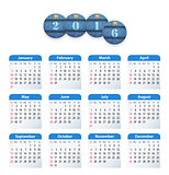 Blue English calendar for 2016 with circle cut jeans tags