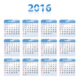 English blue glossy calendar for 2016