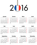 French Calendar grid for 2016 with flag like tag