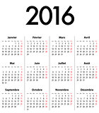 French Calendar grid for 2016. Mondays first