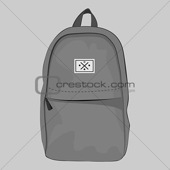 Grey backpack with a pocket