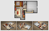 Rendered House Plan and Views
